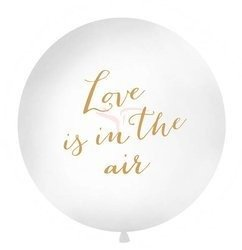 Balon 1 m - Love is in the air - biały - złoty napis