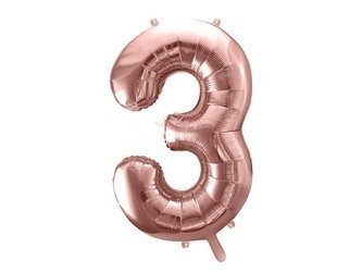 """Balon foliowy Cyfra """"3"""" trzy - 86 cm - różowe złoto"""