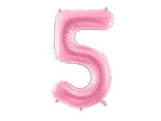 """Balon foliowy Cyfra """"5"""" pięć - 86 cm - różowy"""