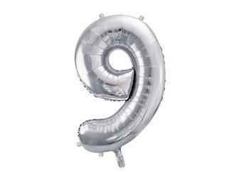 """Balon foliowy Cyfra """"9"""" dziewięć - 86 cm - srebrny"""