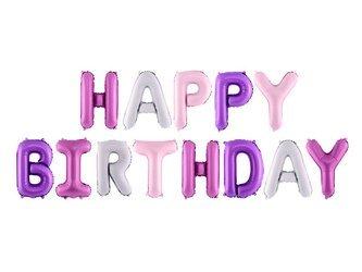 Balon foliowy Happy Birthday - 340 x 35 cm - mix