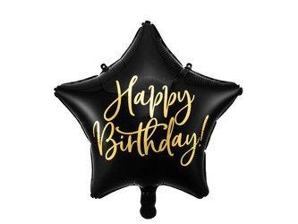 Balon foliowy Happy Birthday - Gwiazda - 40 cm - czarny
