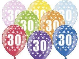 Balony 30 cm - 30th Birthday - 30 urodziny - Metallic Mix - 6 szt.