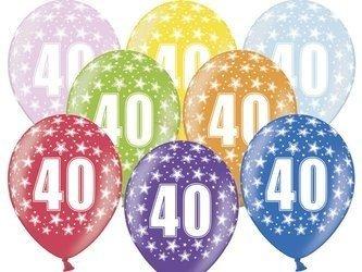 Balony 30 cm - 40th Birthday - 40 urodziny -  Metallic Mix - 6 szt.