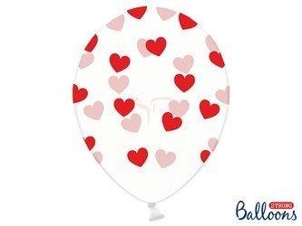 Balony 30 cm - Czerwone Serduszka - Crystal Clear - 6 szt.