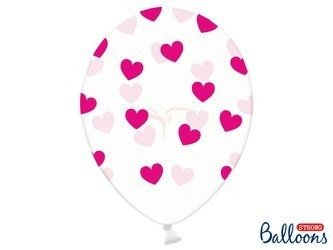 Balony 30 cm - Różowe Serduszka - Crystal Clear - 6 szt.