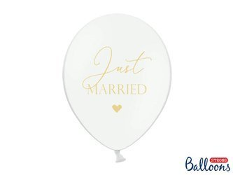 Balony 30cm - Just Married - Pure White - 6 szt.