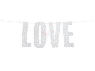 Baner Love - srebrny -  21x55 cm