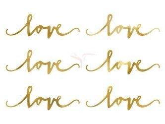 Dekoracje papierowe Love - Złote - 6x20 cm - 6 szt.