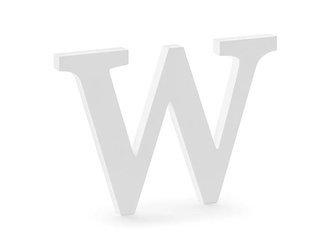 Drewniana litera W - 26,5 x 19 cm - biały