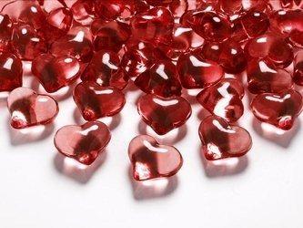 Kryształowe serca czerwone - dekoracja - 21 mm - 30 szt.