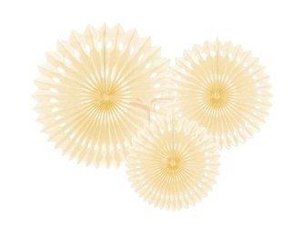 Rozety dekoracyjne - jasno kremowe - 20-30 cm - 3 szt.
