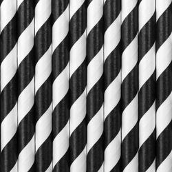 Słomki papierowe - czarne - 19,5 cm - 10 szt.