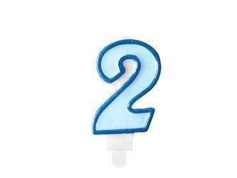 Świeczka urodzinowa Cyferka 2 - dwa - niebieska - 7 cm
