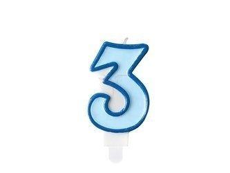 Świeczka urodzinowa Cyferka 3 - trzy - niebieska - 7 cm