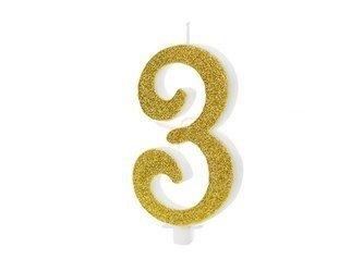 Świeczka urodzinowa Cyferka 3 - trzy - złota - 10 cm
