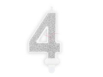 Świeczka urodzinowa Cyferka 4 - cztery - srebrna - 7 cm