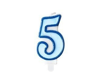 Świeczka urodzinowa Cyferka 5 - pięć - niebieska - 7 cm