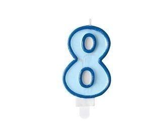 Świeczka urodzinowa Cyferka 8 - osiem - niebieska - 7 cm