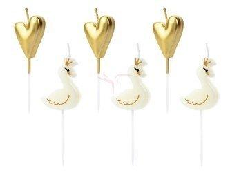 Świeczki urodzinowe Lovely Swan mix - 3.5-4 cm - 6 szt.