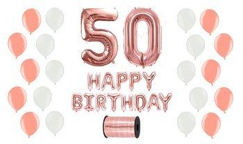 Zestaw Balonów na 50 urodziny - różowe złoto z białymi akcentami