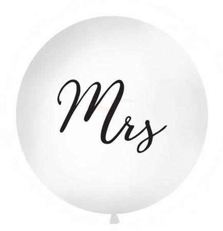 Balon 1m - Mrs - biały - czarny napis