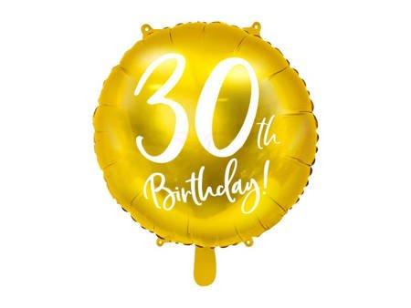 Balon foliowy 30th Birthday - 30 urodziny - złoty - 45 cm