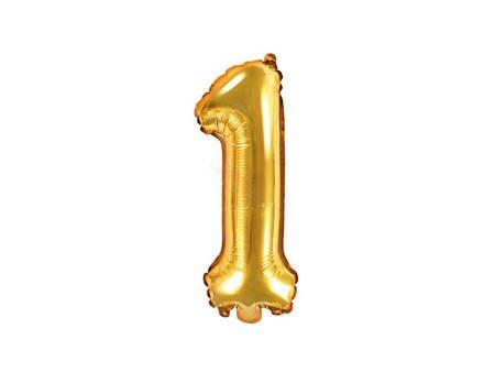 """Balon foliowy Cyfra """"1"""" jeden - 35 cm - złoty"""
