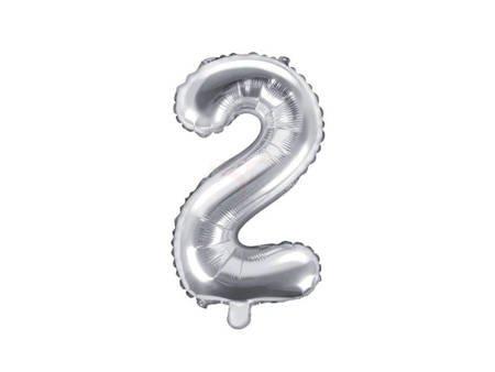 "Balon foliowy Cyfra ""2"" dwa - 35 cm - srebrny"