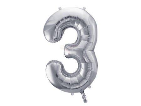 "Balon foliowy Cyfra ""3"" trzy - 86 cm - srebrny"