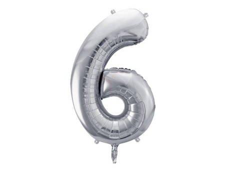"""Balon foliowy Cyfra """"6"""" sześć - 86 cm - srebrny"""