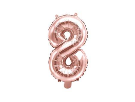 """Balon foliowy Cyfra """"8"""" osiem - 35 cm - różowe złoto"""
