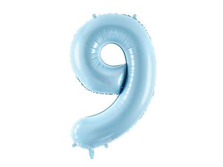 """Balon foliowy Cyfra """"9"""" dziewięć - 86 cm - jasny niebieski"""