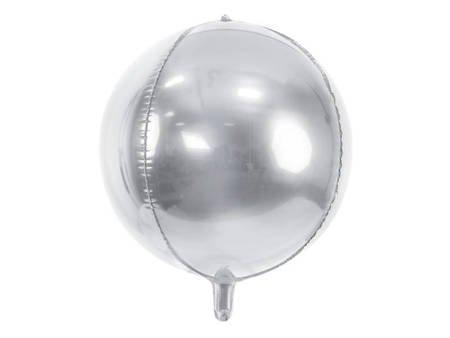 Balon foliowy Kula - 40 cm - srebrny