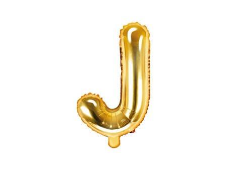 """Balon foliowy Litera """"J"""" - 35 cm - złoty"""