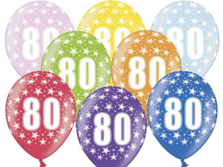 Balony 30 cm - 80th Birthday - 80 urodziny - Metallic Mix - 6 szt.