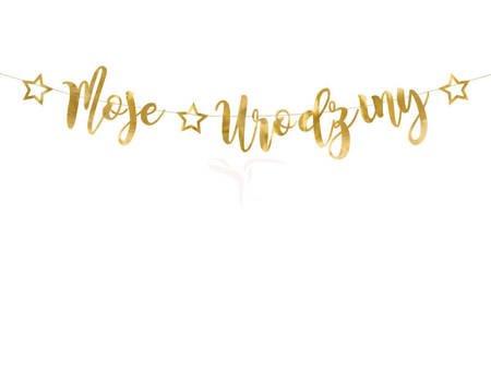 Baner Moje urodziny złoty - 16.5 x 90 cm