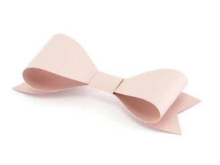 Dekoracje papierowe - Kokardki - pudrowy róż - 6 szt.