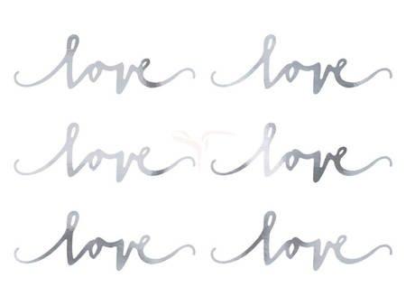 Dekoracje papierowe Love - srebrna - 6x20 cm - 6 szt.