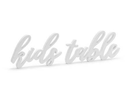 Drewniany napis Kids table - 38 x 10 cm - biały