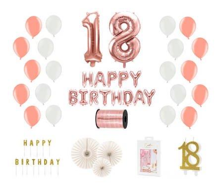 Kompletny zestaw na 18 urodziny - różowe złoto z białymi akcentami