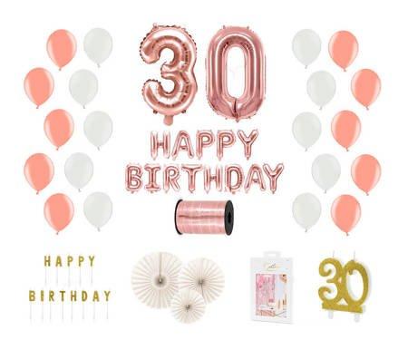 Kompletny zestaw na 30 urodziny - różowe złoto z białymi akcentami