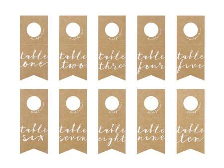 Numery na stół - zawieszki na butelki - 8 x 18,5 cm - 10 szt.
