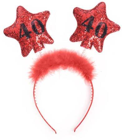 Opaska z gwiazdkami 40 urodziny - czerwone