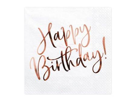 Serwetki Happy Birthday - białe - 33 x 33 cm - 20 szt.