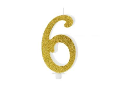 Świeczka urodzinowa Cyferka 6 - sześć - złota - 10 cm