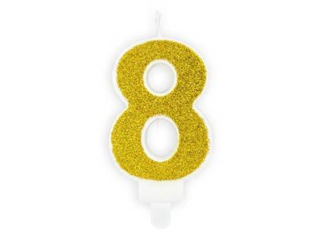 Świeczka urodzinowa Cyferka 8 - osiem - złota - 7 cm