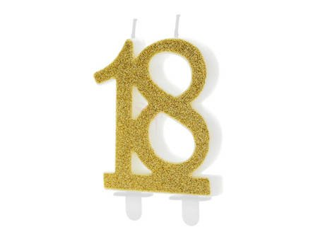 Świeczka urodzinowa liczba 18 - złota - 7.5 cm