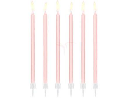 Świeczki urodzinowe gładkie - jasny różowy - 14 cm - 12 szt.