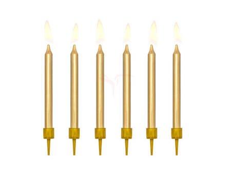 Świeczki urodzinowe gładkie - złote - 6 cm - 6 szt.